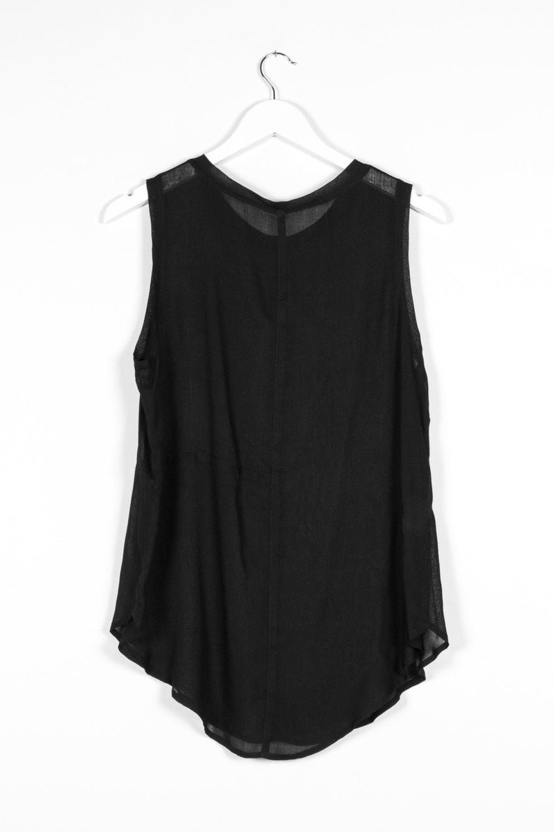ZURICH SINGLET | BLACK GAUZE - NYNE - NZ Made Women's Clothing