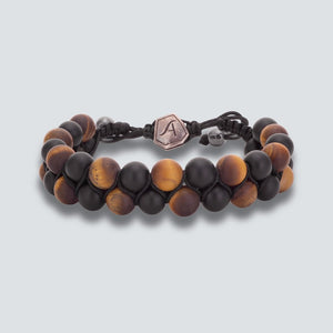 TIGER EYE MATTE WITH ONYX BRACELET