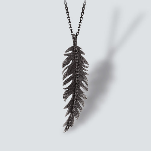 OXIDIZED SILVER FEATHER NECKLACE