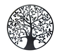 Black Tree of Life Wall Art Hanging Metal Iron Sculpture Garden 60cm