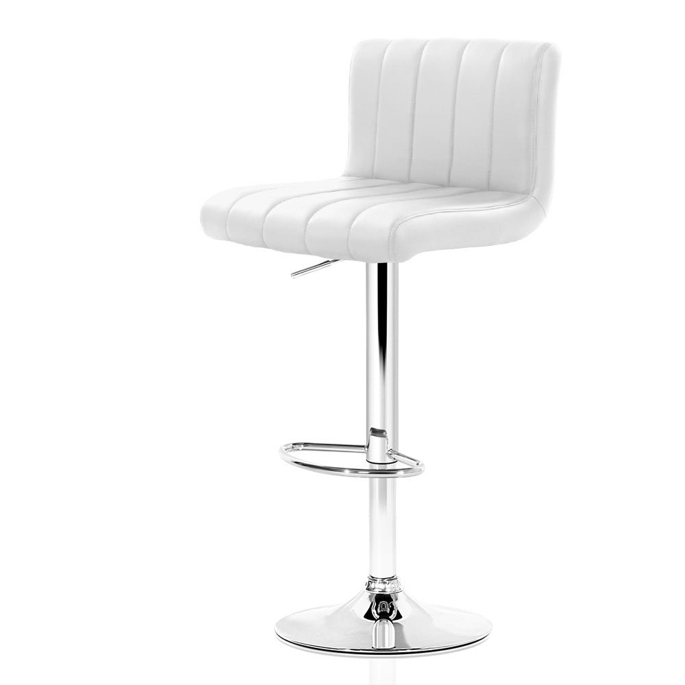 Artiss 2x Leather Bar Stools Kitchen Chair Bar Stool White Como Gas Lift Swivel