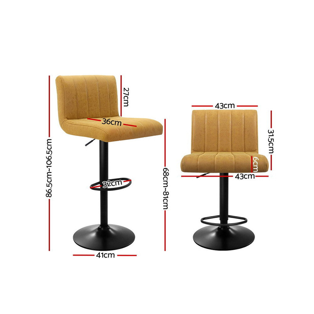 McW Artiz 2x Kitchen Vintage Bar Stools Swivel Bar Stool Leather Gas Lift Chairs