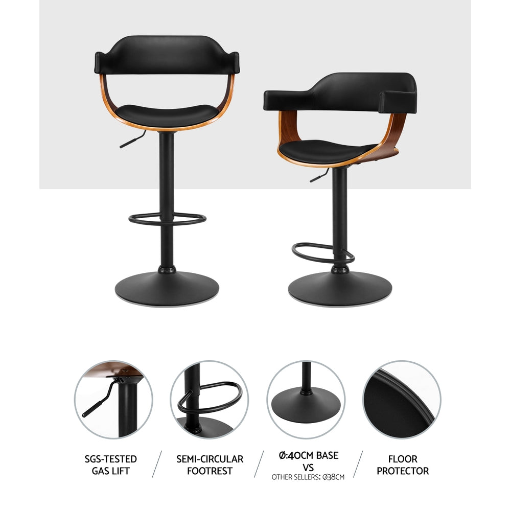 McW Artiz 1 x Wooden Bar Stools Kitchen Swivel Gas Lift Bar Stool Chairs Leather Black