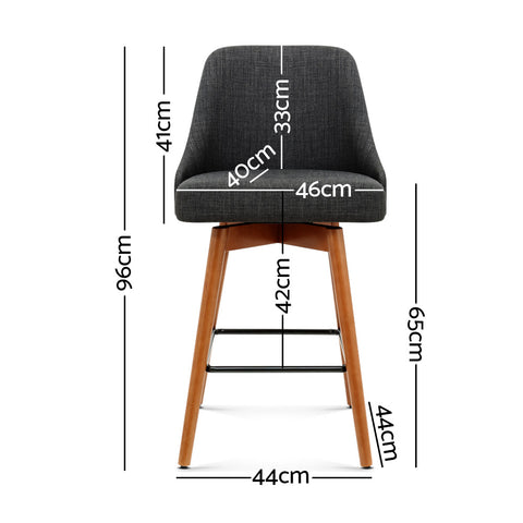McW Artiz 2x Wooden Bar Stools Swivel Bar Stool Kitchen Cafe Fabric Charcoal