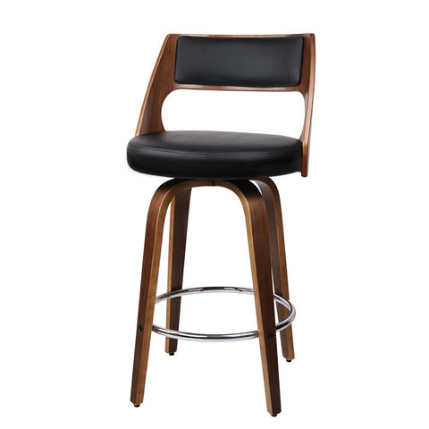2xArtiss Wooden Bar Stools Swivel Bar Stool Kitchen Dining Chair Cafe Black 76cm