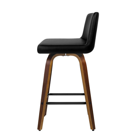 McW Artiz 2x Kitchen Wooden Bar Stools Swivel Bar Stool Chairs Leather Luxury Black