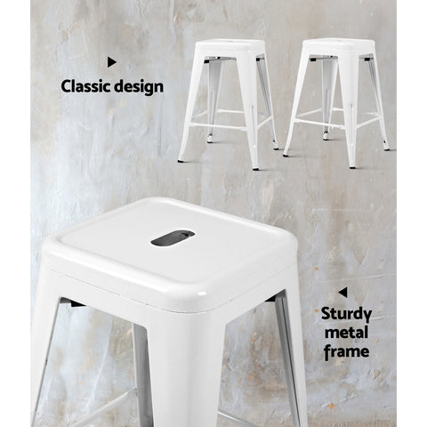 Artiss 4x Replica Tolix Bar Stools Metal Bar Stool Kitchen Cafe Chair 61cm White