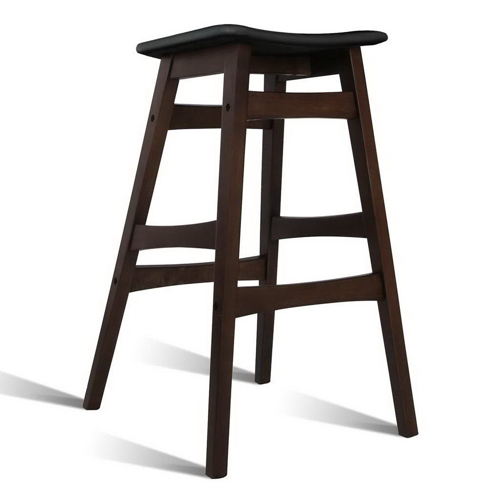 McW Artiz Set of 2 Wooden and Padded Bar Stools - Black