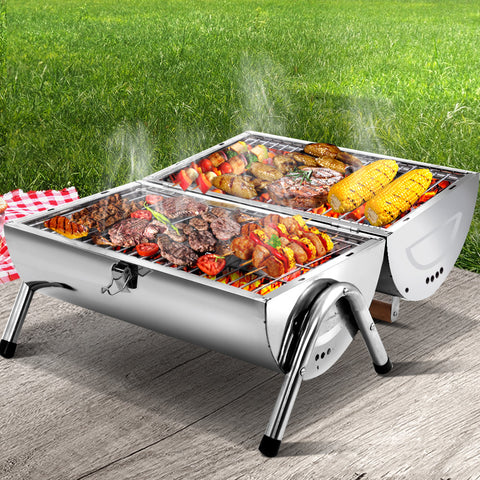 Grillz Portable BBQ Drill Outdoor Camping Charcoal Barbeque Smoker Foldable