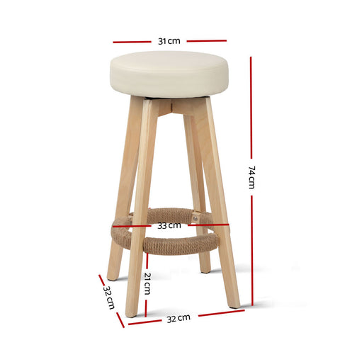 McW Artiz 2x Kitchen Bar Stools Wooden Bar Stool Swivel Barstools Counter Chairs 74cm Leather  Cream