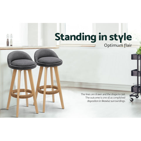 2x Kitchen Bar Stools Wooden Bar Stool Swivel Barstools Counter Chairs 74cm Fabric Grey