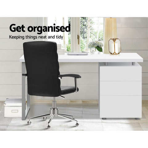 McW Metal Desk with 3 Drawers - White