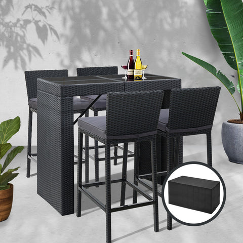 McW Garden Outdoor Bar Set Table Chairs Stools Rattan Patio Furniture 4 Seaters
