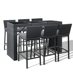 Gardeon Outdoor Bar Set Table Chairs Stools Rattan Patio Furniture 6 Seaters