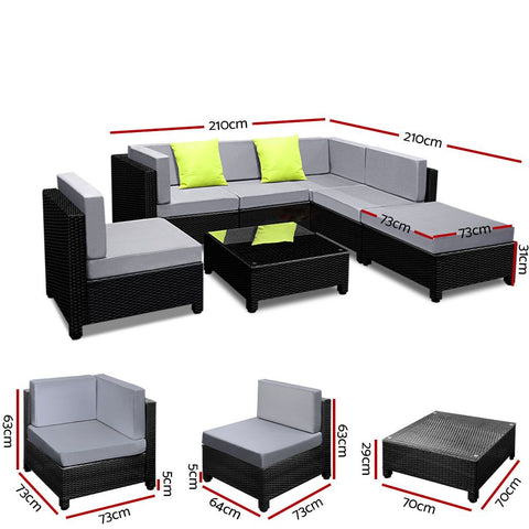Gardeon 7PC Sofa Set Outdoor Furniture Lounge Setting Wicker Couches Garden Patio Pool