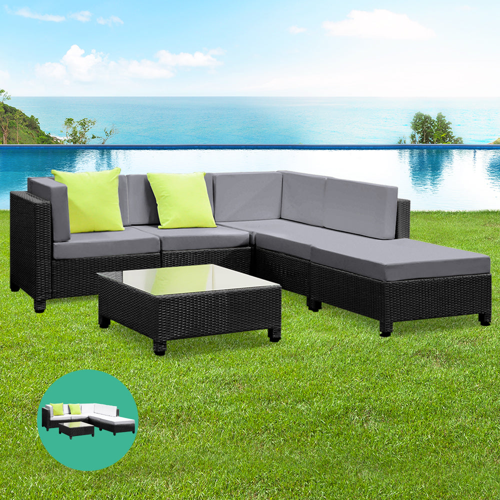 McW Garden 6PC Sofa Set Lounge Setting Outdoor Furniture Wicker Couches Garden Patio Pool