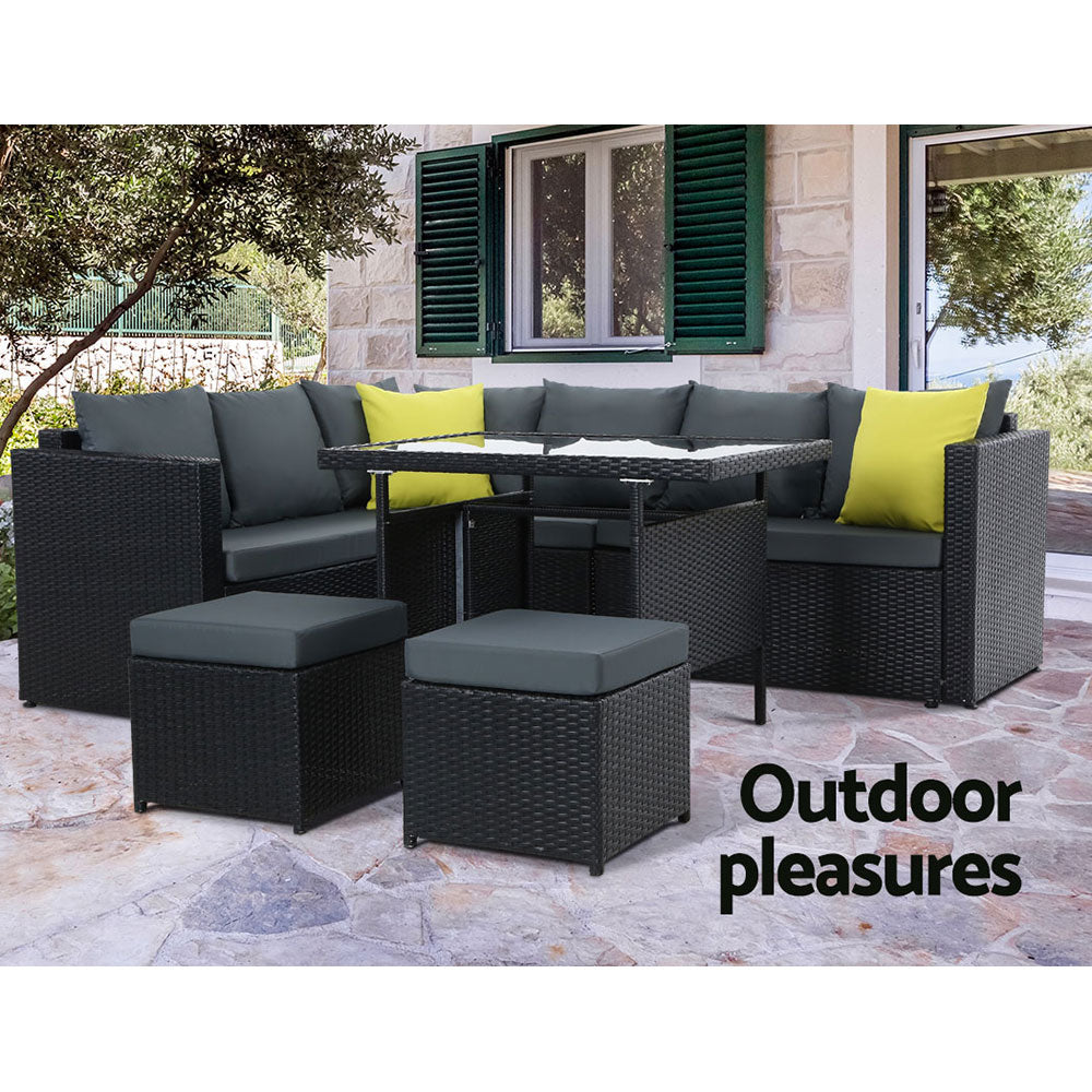 McW Garden Outdoor Furniture Patio Set Dining Sofa Table Chair Lounge Wicker Garden Black