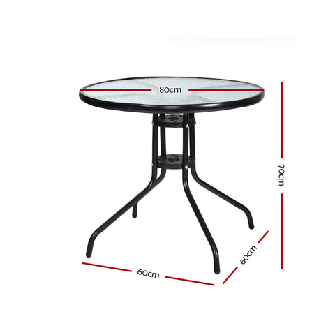 McW Garden Outdoor Dining Table Bar Setting Steel Glass 70CM