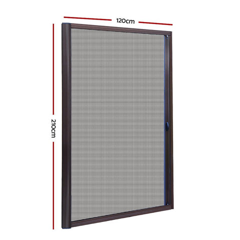 Instahut Retractable Magnetic Fly Screen Flyscreen Door Mesh Sliding 1.2m x 2.1m Brown