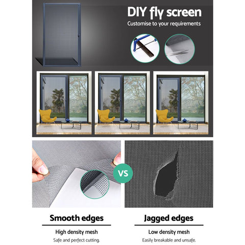 Instahut Retractable Magnetic Fly Screen Flyscreen Door Mesh Sliding 1.2m x 2.1m Grey