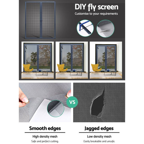 Instahut Retractable Magnetic Fly Screen Flyscreen Door Mesh Sliding 1.8m x 2.1m Grey