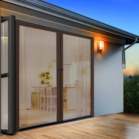 Instahut Retractable Magnetic Fly Screen Flyscreen Door Mesh Sliding 1.8m x 2.1m Brown