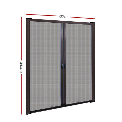 Instahut Retractable Magnetic Fly Screen Flyscreen Door Mesh Sliding 2.3m x 2.4m Brown