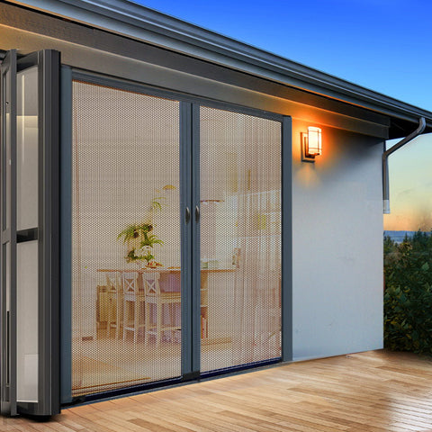 Instahut Retractable Magnetic Fly Screen Flyscreen Door Mesh Sliding 2.3m x 2.4m Grey