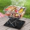Image of Grillz Camping Fire Pit BBQ Portable Folding Stainless Steel Stove Outdoor Pits