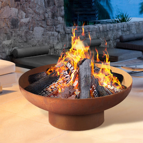 Grillz Rustic Fire Pit Camping Wood Burner Rusted Outdoor Iron Bowl Heater 70CM