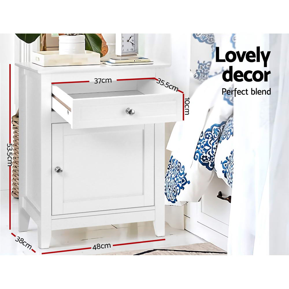 McW Artiz Bedside Tables Big Storage Drawers Cabinet Nightstand Lamp Chest White