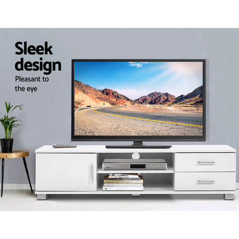 McW Artiz 120cm TV Stand Entertainment Unit Storage Cabinet Drawers Shelf White