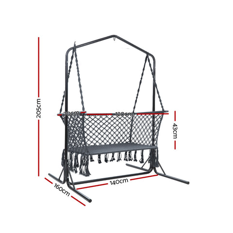 McW Garden Outdoor Swing Hammock Chair with Stand Frame 2 Seater Bench Furniture