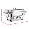 Image of Emajin 9L Bain Marie Bow Chafing Dish 3Lx3 Stainless Steel Food Buffet Warmer