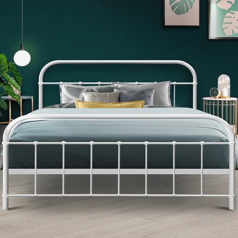 McW Queen Size Metal Bed Frame - White