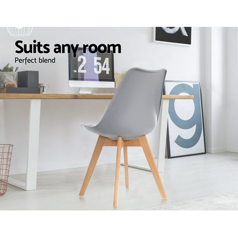 McW Artiz 4x Retro Replica Eames Dining DSW Chairs PU Leather Padded Kitchen Cafe Beech Wood Legs Grey