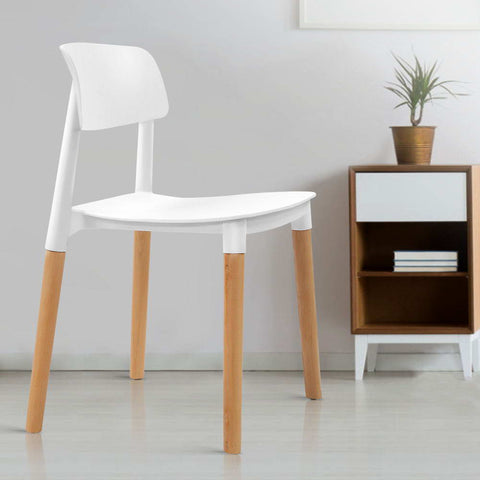 McW Artiz 4x Belloch Replica Dining Chairs Kichen Cafe Stackle Beech Wood Legs White