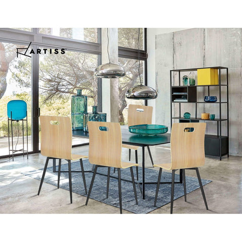 4x McW Artiz Dining Chairs Bentwood Seater Metal Legs Cafe Kitchen Chair Wooden