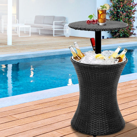 Outdoor Patio Pool Cooler Ice Bucket Rattan Bar Coffee Table Black
