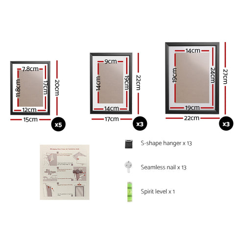 11 PCS Photo Frame Wall Set Collage Picture Frames Home Decor Present Gift Black