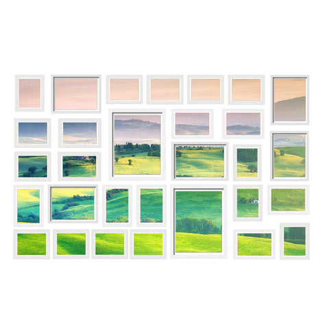 30 PCS Photo Frame Set Wall Hanging Collage Picture Frames Home Decor Gift White