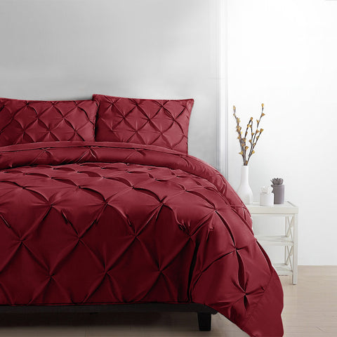 Giselle Luxury Classic Bed Duvet Doona Quilt Cover Set Hotel Queen Burgundy Red