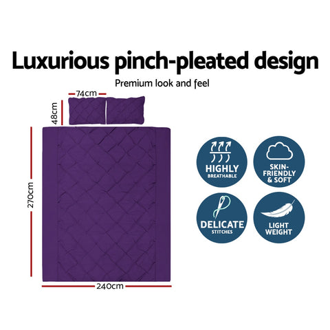 Giselle Luxury Classic Bed Duvet Doona Quilt Cover Set Hotel Super King Purple