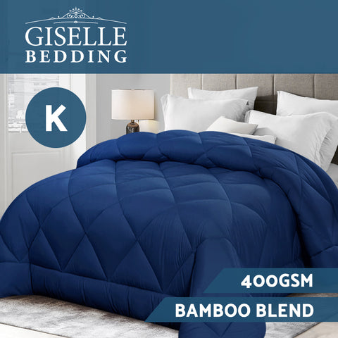 Giselle Bamboo Microfibre Microfiber Quilt 400GSM Doona King All Season Blue