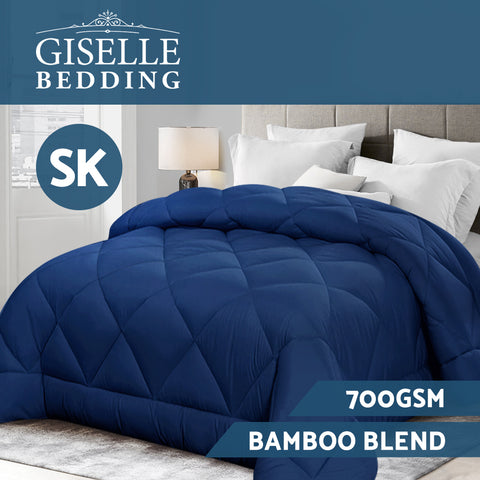Giselle Bamboo Microfibre Microfiber Quilt 700GSM SK Duvet All Season Warm Blue