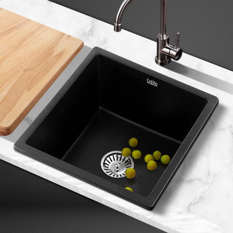 Cefito Kitchen Sink Stone Granite Laundry Top/Undermount Singe Black 450x450mm