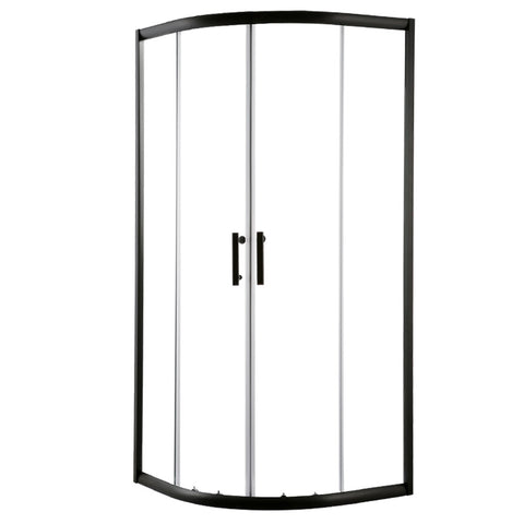 Cefito Shower Screen Curved Bathroom Screens Glass Sliding Door Black 900x900mm