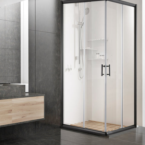 Cefito Shower Screen Square Bathroom Screens Glass Sliding Door Black 900x900mm