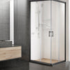 Image of Cefito Shower Screen Square Bathroom Screens Glass Sliding Door Black 900x900mm