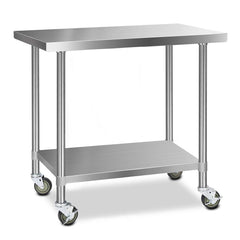 Cefito 304 Stainless Steel Kitchen Benches Work Bench Food Prep Table with Wheels 1219MM x 610MM